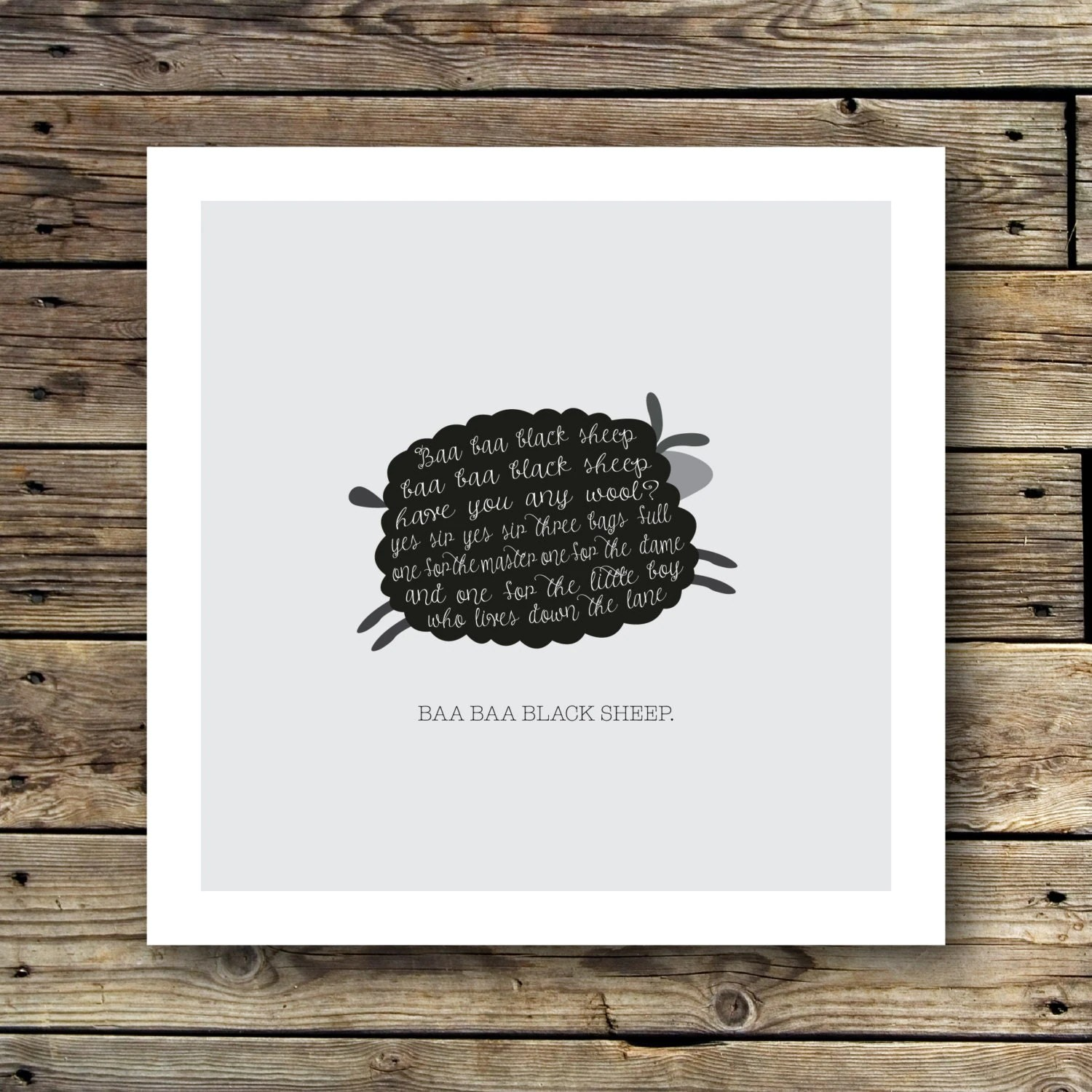 Printable Baa Baa Black Sheep Print