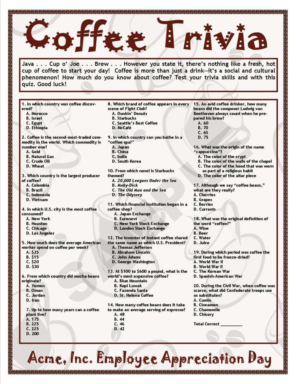 Coffee Trivia Printable Game Coffee Theme Birthdays