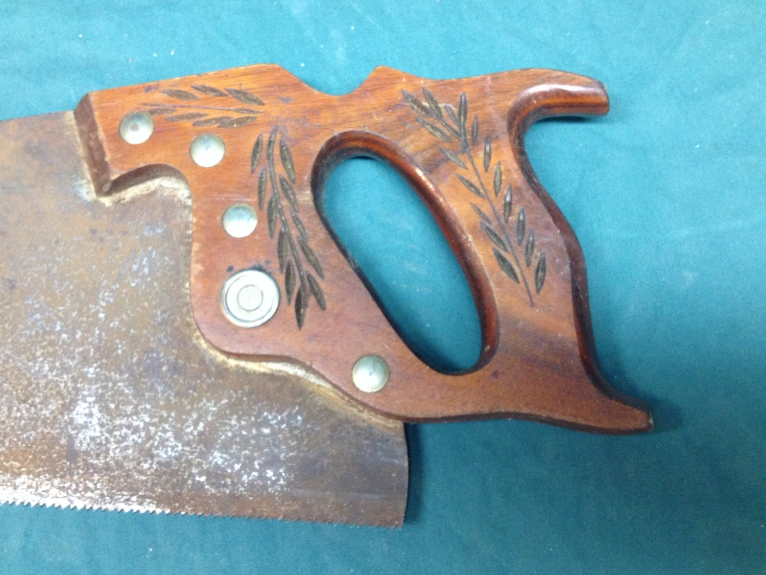 Vintage Warranted Superior Hand Saw W Wheat Carvings Rusty