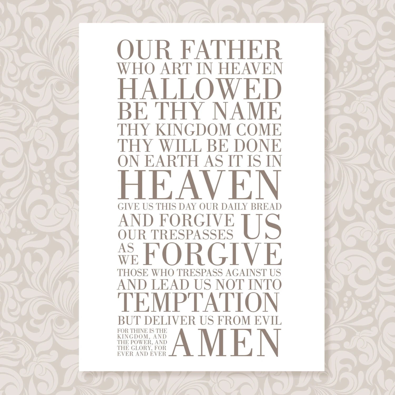 The Lords Prayer Our Father A4 Print In 5 Colours