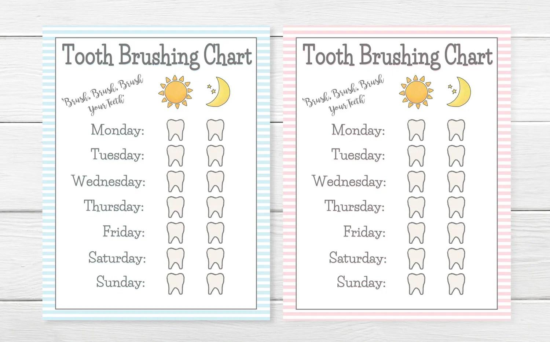 Printable Girls Amp Boys Tooth Brushing Chart Young