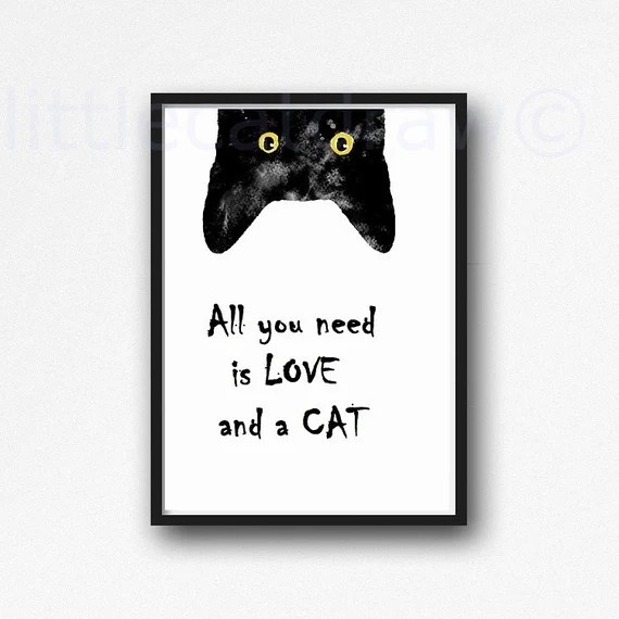 Download Peeking Black Cat with Quote All You Need is Love and a Cat