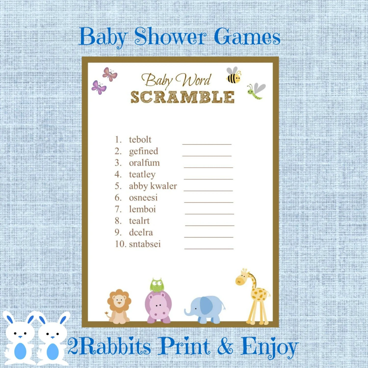 Safari Jungle Animal Baby Shower Word Scramble With Answers