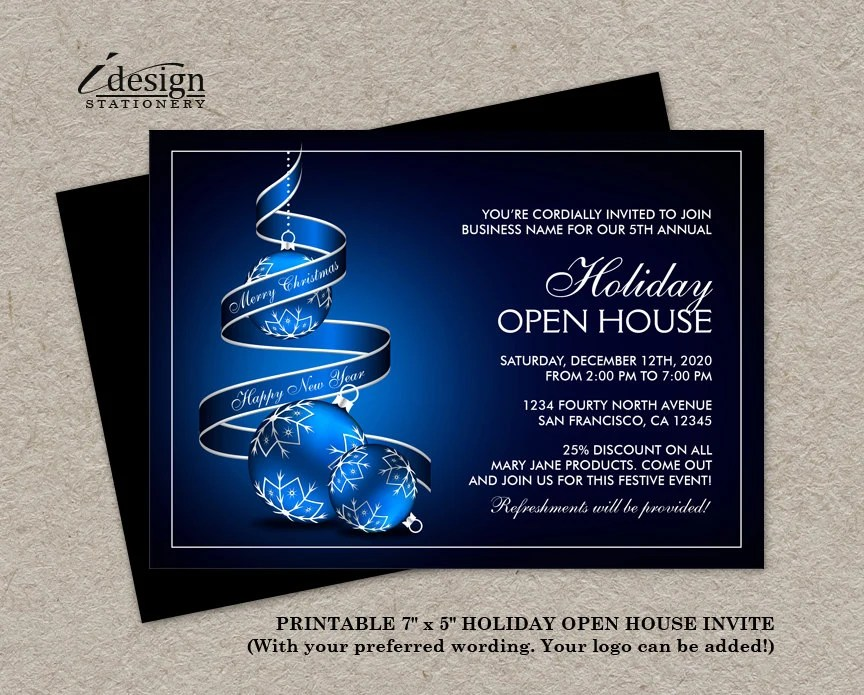 Elegant Business Holiday Open House Invitations Corporate