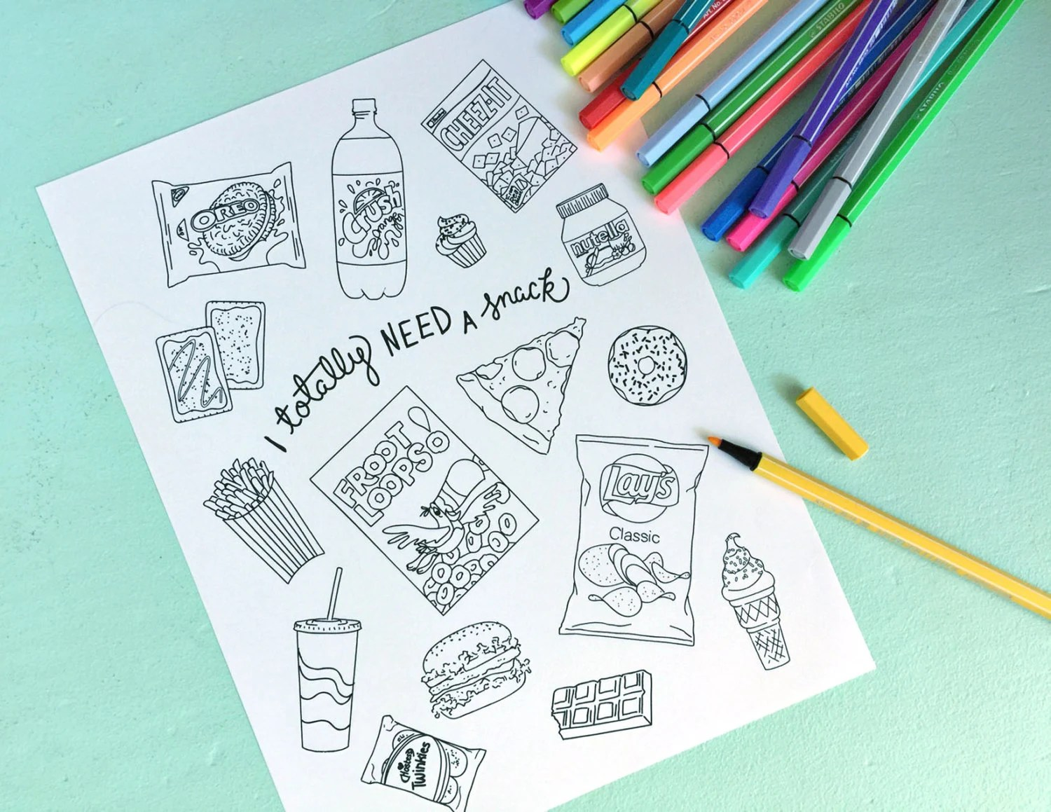 Printable Junk Food Coloring Page Digital File Instant