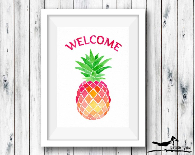 Pineapple Decor Personalized Welcome Sign - Foyer Wall Art - Pineapple Wall Art, Custom Housewarming Gift, Hostess Gift, New Home Gift Ideas