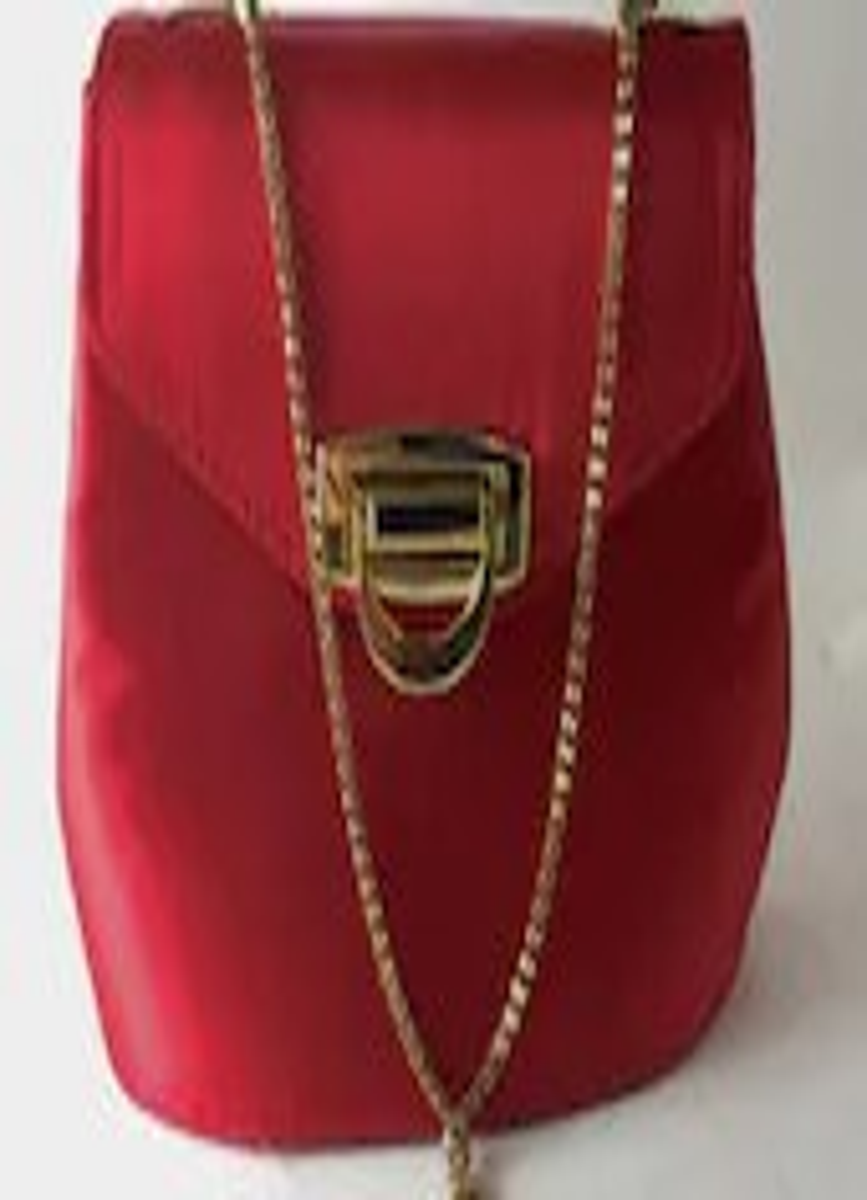 Red Satin Evening Bag - V...