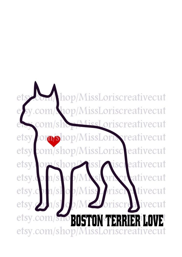 Download Boston Terrier love dog Love SVG cut file t-shirts Dog