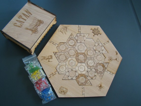 Custom Laser Engraved Designed Settlers of Catan Wooden Game Board and Playing Pieces