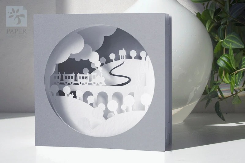 Papercut Template Tunnel Card Train Instant Download SVG