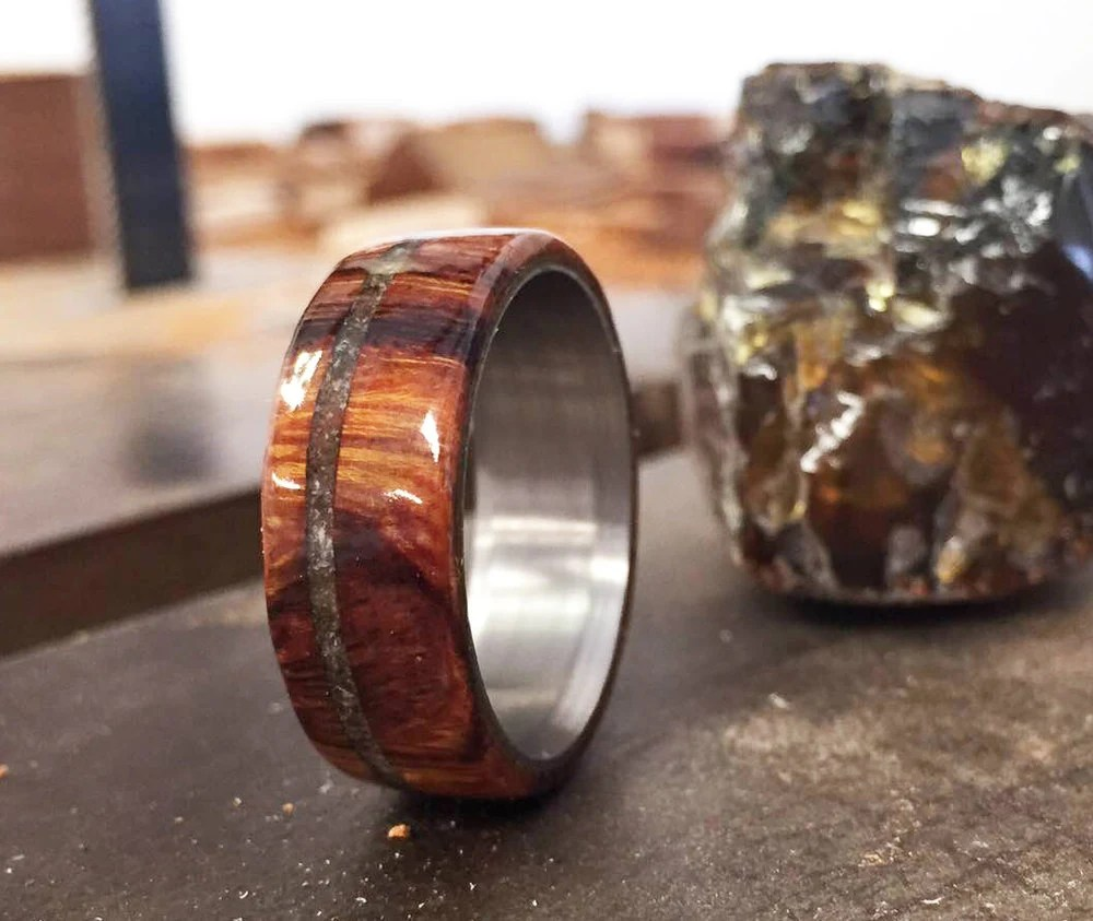 Mens Wedding Band Ironwood With Amber Inlay Ring Staghead
