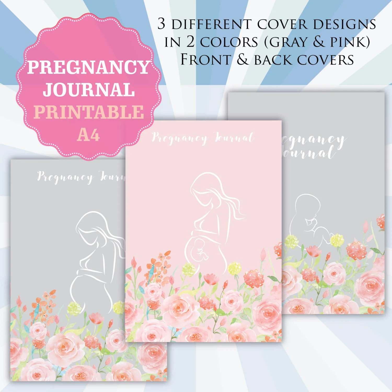 Printable Pregnancy Journal Pregnancy Diary Maternity Baby