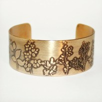 Etched Wildflowers Cuff - Solid 18 gauge Brass Cuff Bracelet - Handmade