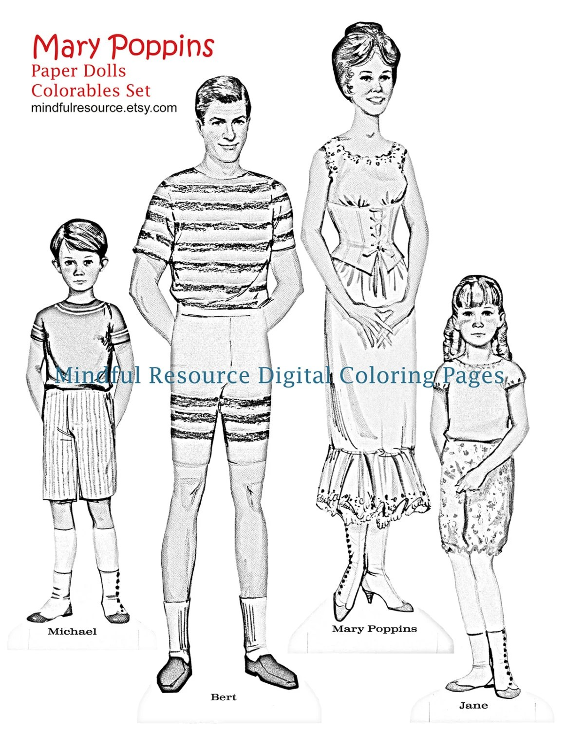 Mary Poppins Coloring Paper Doll Pages Colouring Sheets