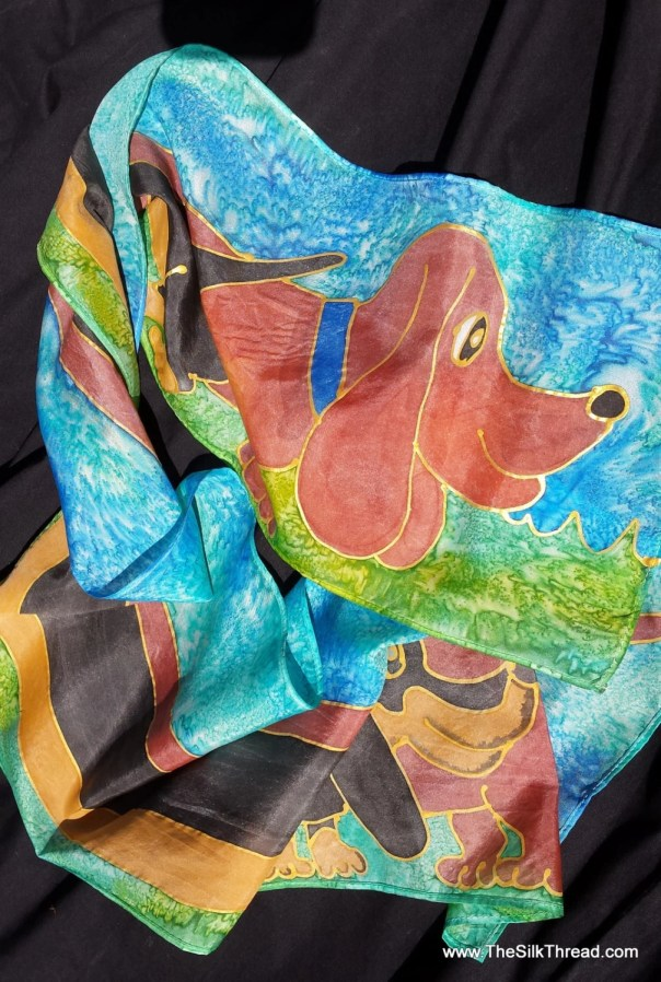 "Dachshund Silk scarf with hand painted dachshunds on blue & green background, by artist, dog art, dogs,hound, silk art, 8"" x 54"", exclusive"