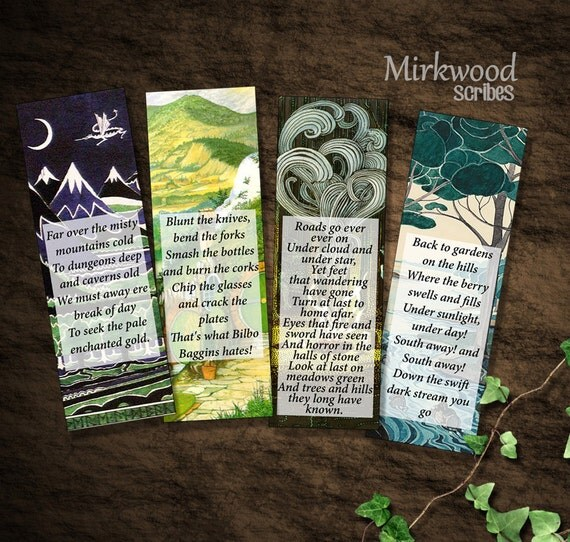 Songs of The Hobbit Bookmarks | Set of 4 Printable Bookmarks | Gifts, Party Favors, Stocking Stuffers. | Great Gift for a Book Lover!
