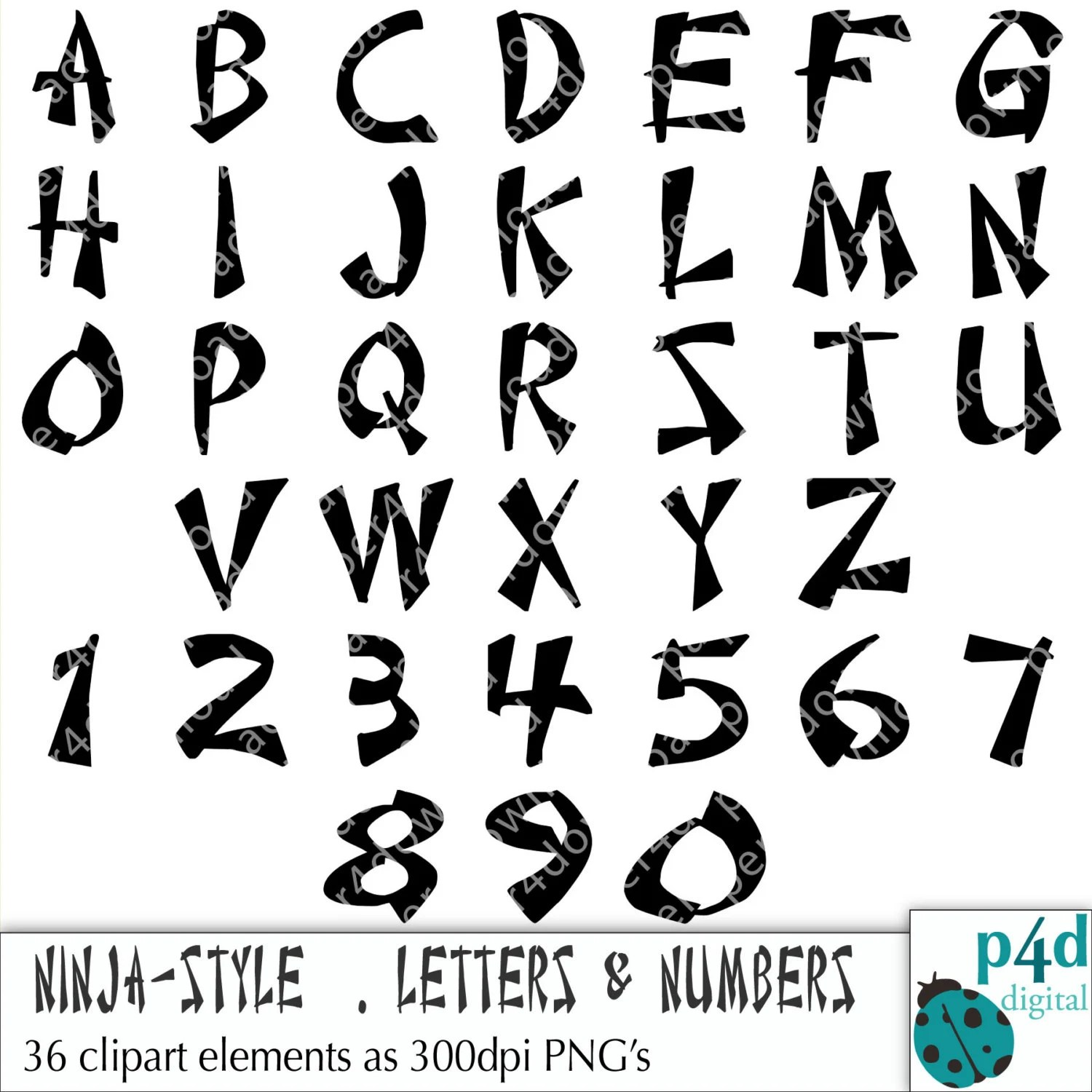 Alphabet 36 Ninja Style Letters And Numbers Clipart