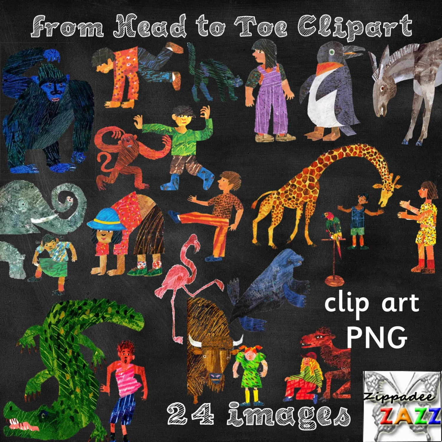 From Head To Toe Clipart Eric Carle By Zippadeezazzdesigns