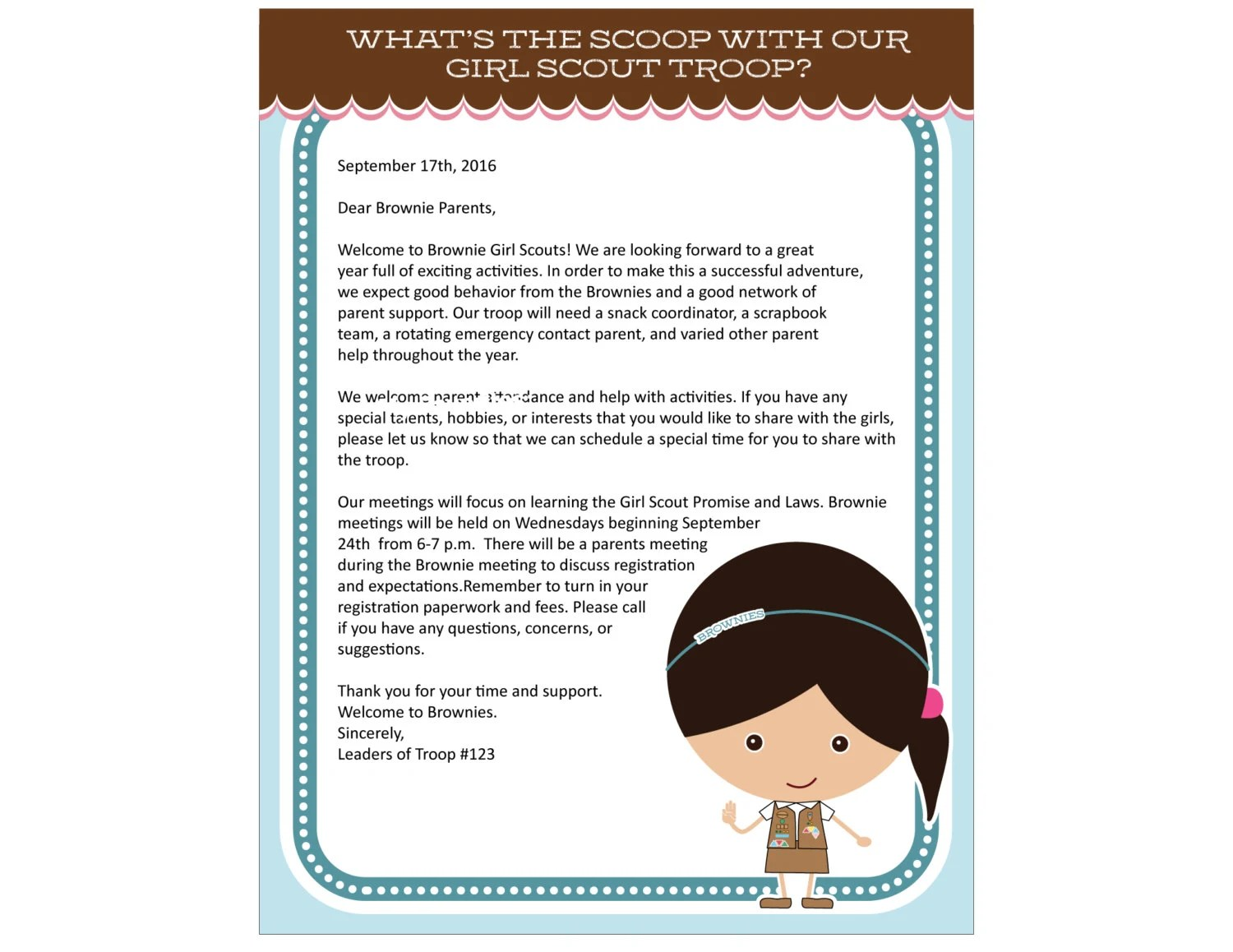 Brownie Girl Scout Letterhead Printable Instant Download