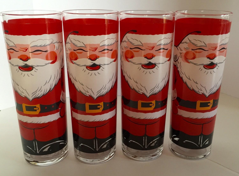 Vintage set of georges briard santa drinking glasses