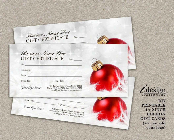 Items Similar To Christmas Gift Certificates Printable