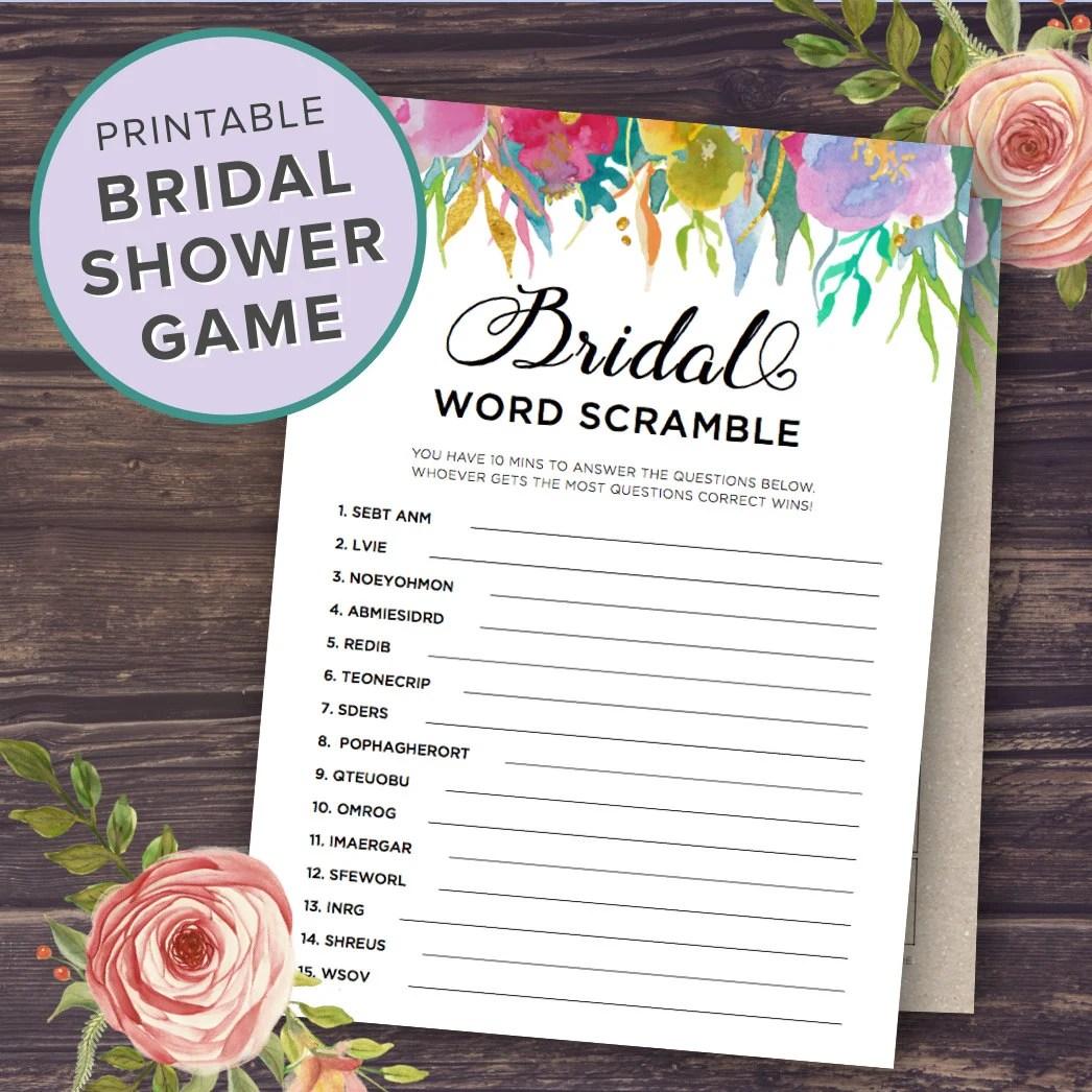 Bridal Shower Word Scramble Game Printable Wedding Shower