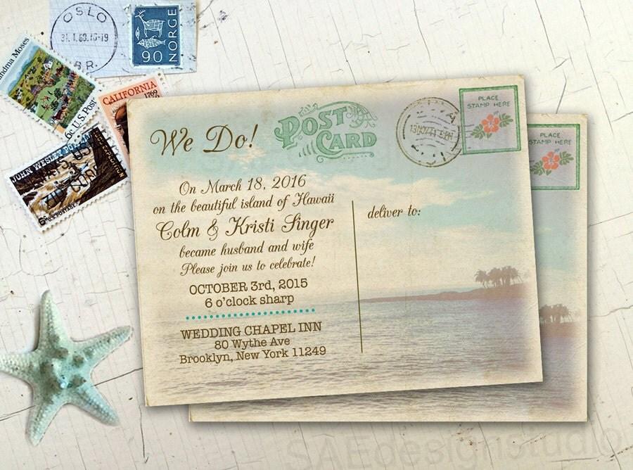 Rustic Postcard Wedding Invitations