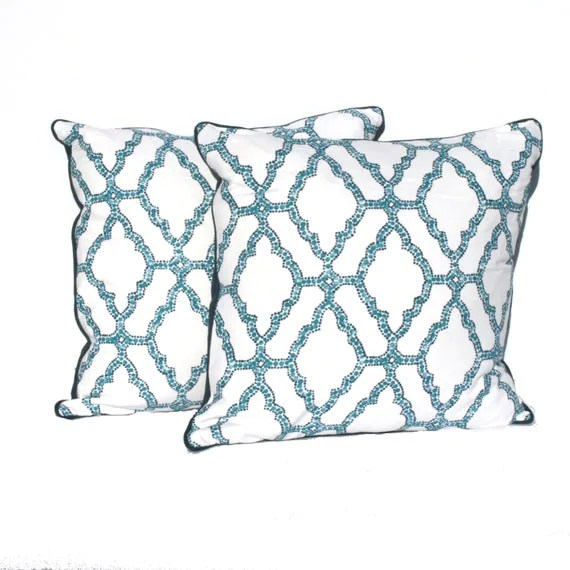 "Blue Decorative Pillow – Royal Blue, Navy and White Geometric Designer Fabric- 20"" Pillows -Hidden Zipper Closure"