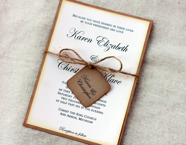 Plain Rustic Wedding Invitations