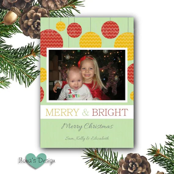 Ornament Photo Holiday Card Christmas Cards Merry And