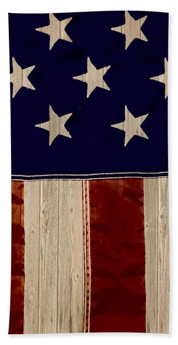 Aged Rustic American Flag Hand Towels Bath Towel And Bath