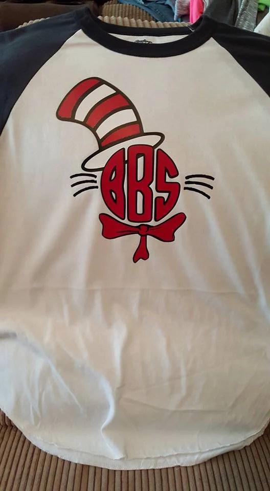 Personalized Cat In The Hat Monogram Raglan ShirtDr Seuss