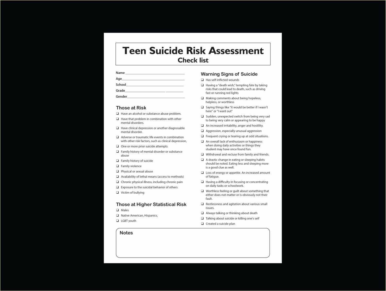 Teen Suicide Risk Assessment Printable Check List Worksheet