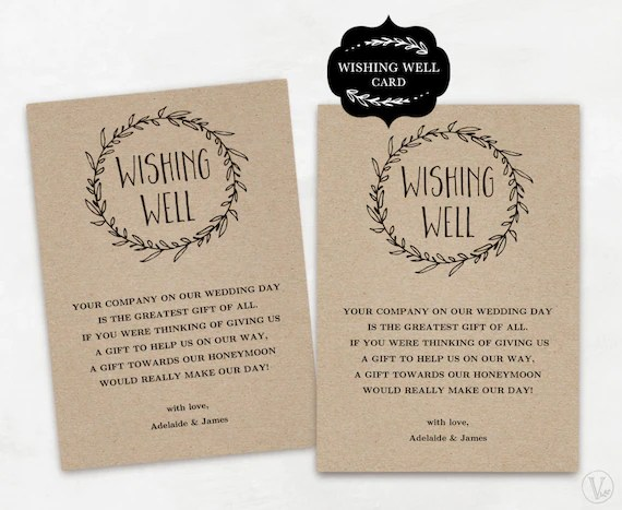 Wishing Well Card Template Printable Wishing Well Card DIY