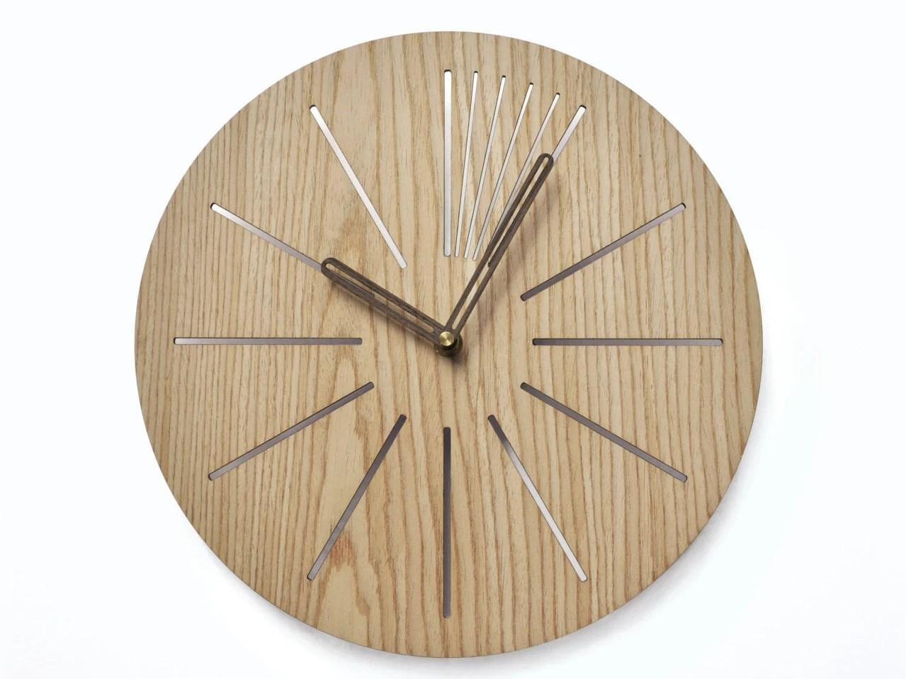 Industrial Wall Clock Modern Wooden Clock Geometric Clock