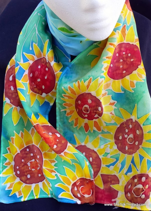 "Sunflower Silk Scarf, flower art, sunny yellow,red, green, 8"" x 54"" size, Original hand painted silk art by artist M Theresa Brown, OOAK"