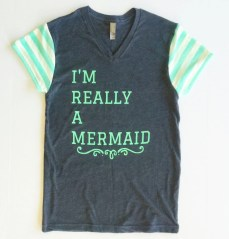I'm Really A Mermaid T-Shirt, Navy and Mint, Mint and white stripe sleeves, Adult, Teen trendy Tee
