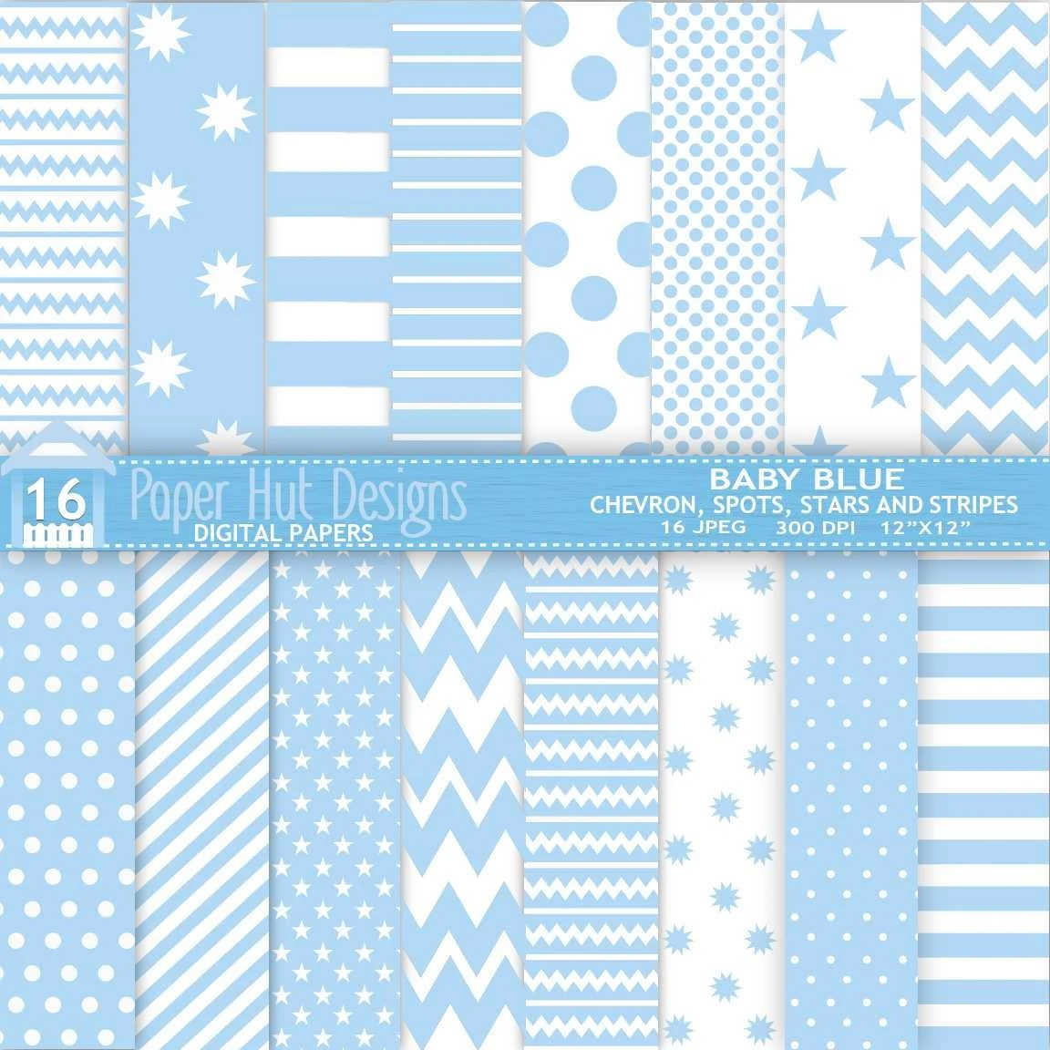Baby Blue Digital Papers Baby Shower Chevron Spots Stars