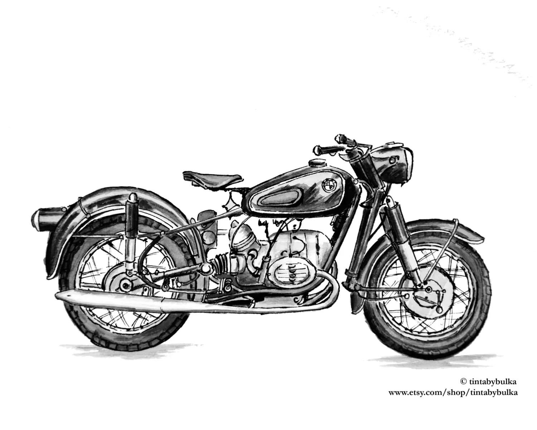 Motorcycle Original Painting Motorcycle Art Classic Motorcycle