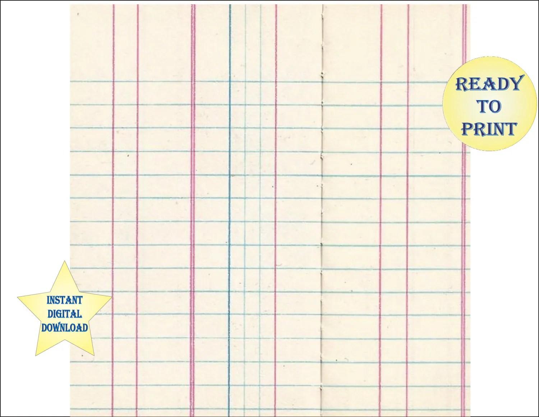 Blank Ledger Sheet Scrapbook Sheet Printable 12x12