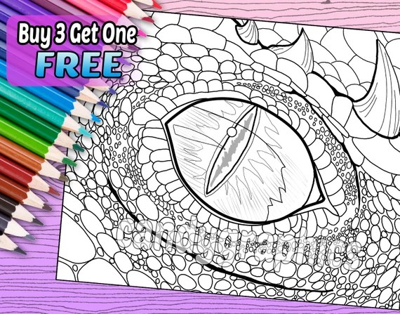 dragon eye adult coloring book page printable instant