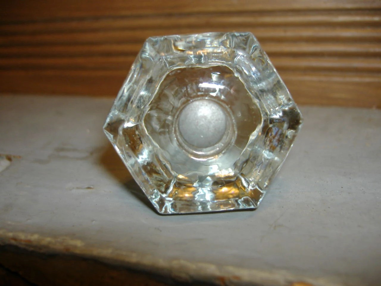 Vintage glass octagon dresser cabinet bureau drawer knobs for Antique bureau knobs