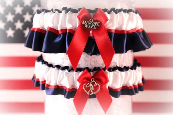 USMC Wedding Garter Set Military Dress Blue By CreativeGarters