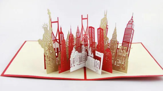 New York City Skyline In Pop Up Card Greeting Card 3d By