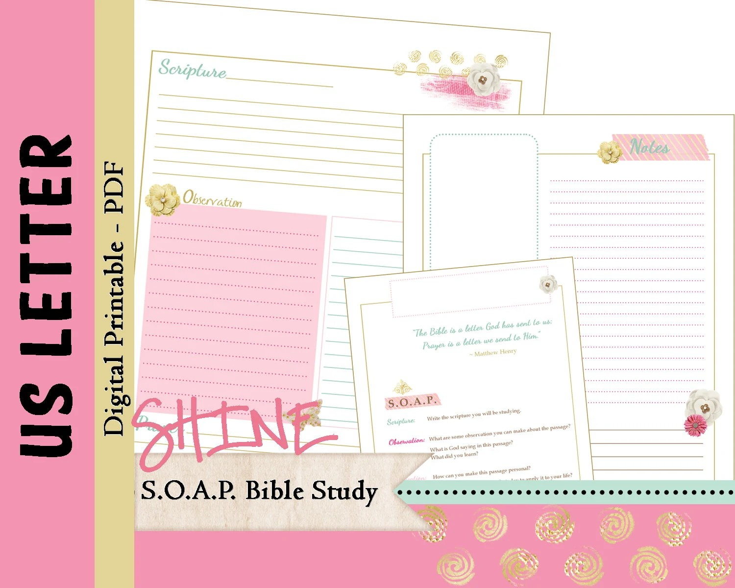 Us Letter S O A P Bible Study Printable Planner Journal