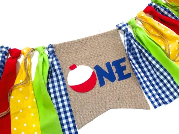 FISHING Birthday Banner Highchair High Chair Nautical Gone Fishing Camping O-Fish-Ally One Garland Plaid Birthday First Cake Smash Prop