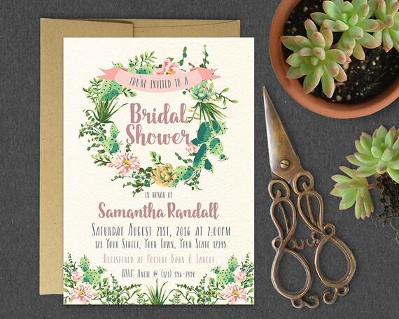 Custom Printed Bridal Shower Invitations