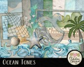 Beach Digital Scrapbooking Kit - Ocean Tones clipart - Swimming Beach & Summer Digital Scrapbook