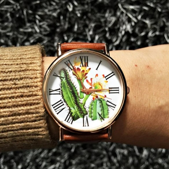 Cactus Plant Collection Watch , Cactus Jewelry , Vintage Style Leather Watch, Women Watches, Succulents , Men's watch, Cactus Print, Watches