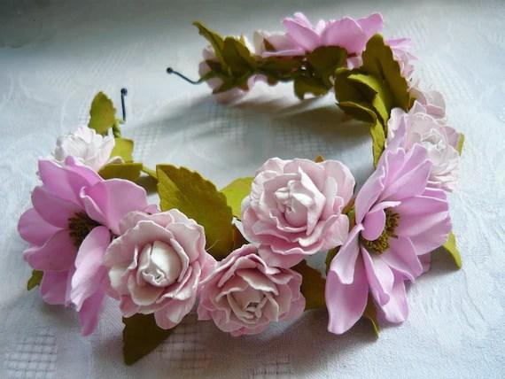 Pink Wedding Bohemian Flower Halo Flower Bridal Headband